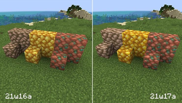 Minecraft Snapshot 21w17a Texture Comparison